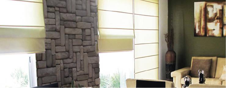 Piedra Petril Olmeca: Paredes y pisos de estilo moderno por ENFOQUE CONSTRUCTIVO