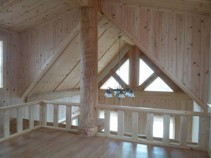 18평 소형 통나무집: 보국주택의  베란다,