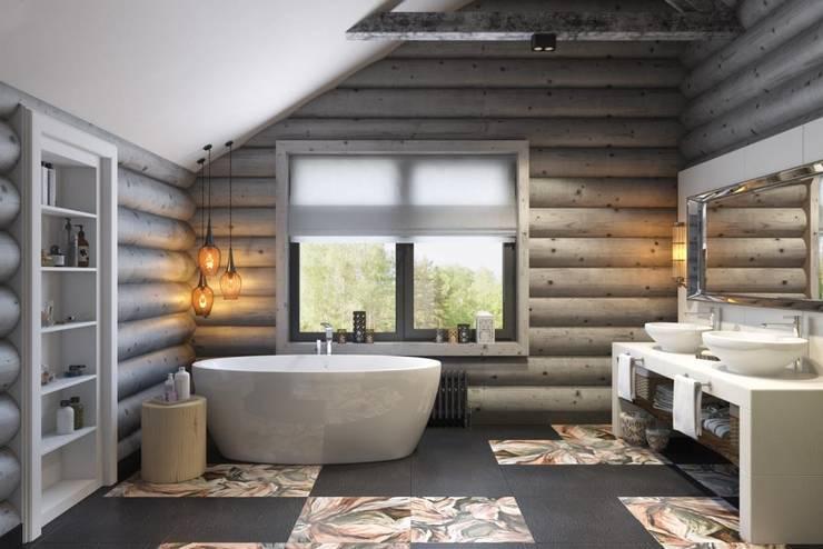 Просторная ванная комната: Ванные комнаты в . Автор – Дизайн студия Алёны Чекалиной