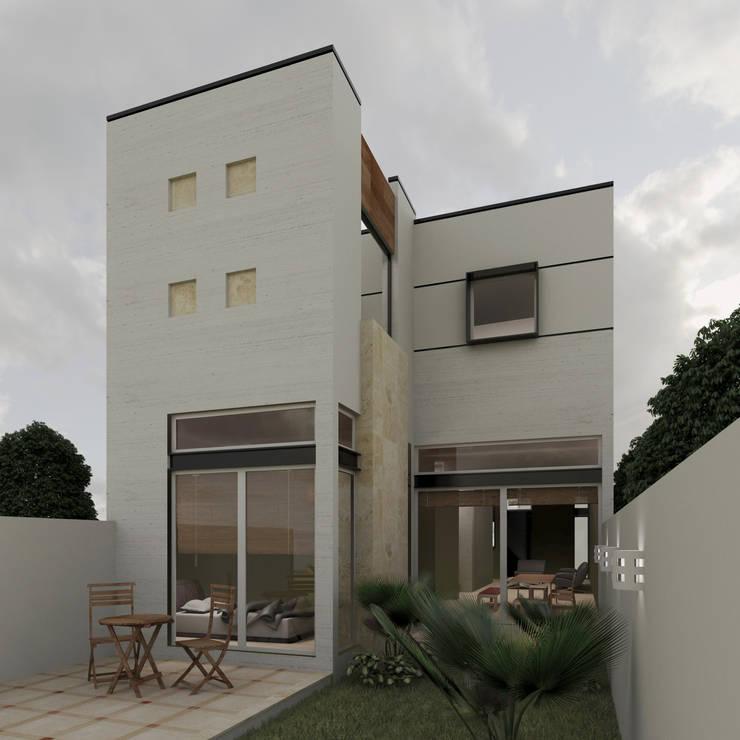 Fachada Posterior: Casas de estilo  por 3030 ARQUITECTOS