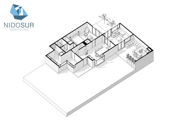 Proyección Axonometrica Primer Nivel:  de estilo  por NidoSur Arquitectos - Valdivia