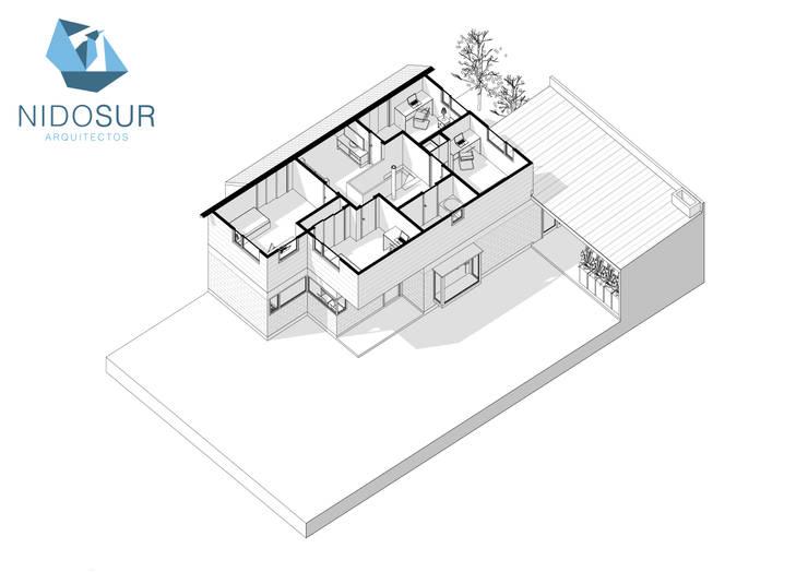 Proyección Axonometrica Segundo Nivel:  de estilo  por NidoSur Arquitectos - Valdivia