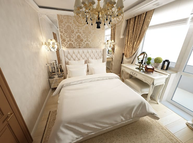 غرفة نوم تنفيذ Дизайн-бюро Анны Шаркуновой 'East-West'