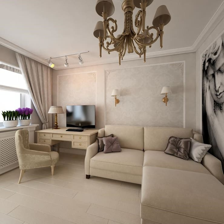غرفة المعيشة تنفيذ Дизайн-бюро Анны Шаркуновой 'East-West'