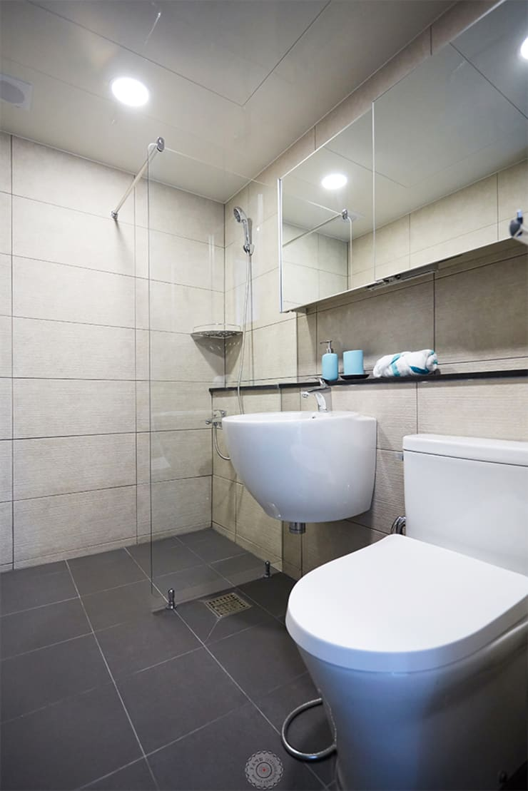 부드럽고, 고급스러운 욕실: 제이앤예림design의  욕실