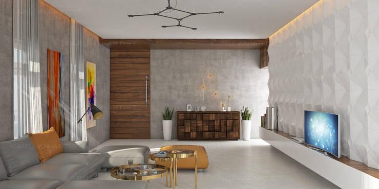 A Modern Living Room:  Living room by KARU AN ARTIST