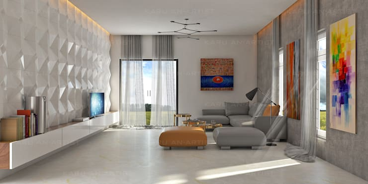 A Modern Living Room:  Living room by KARU AN ARTIST