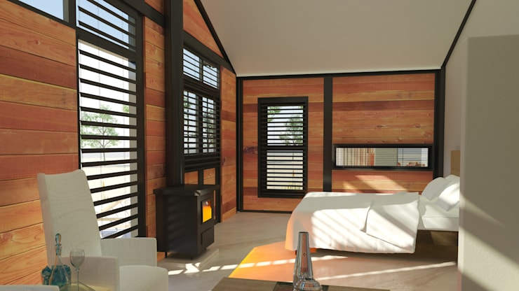 Steel Framed Home  - bedroom:  Bedroom by Edge Design Studio Architects