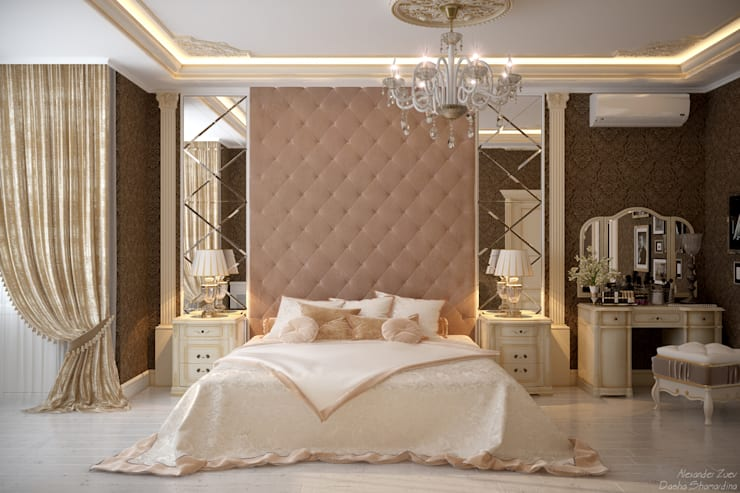 """Дизайн спальни в классическом стиле в квартире в ЖК """"Ливанский дом"""", г.Краснодар: Спальни в . Автор – Студия интерьерного дизайна happy.design"""