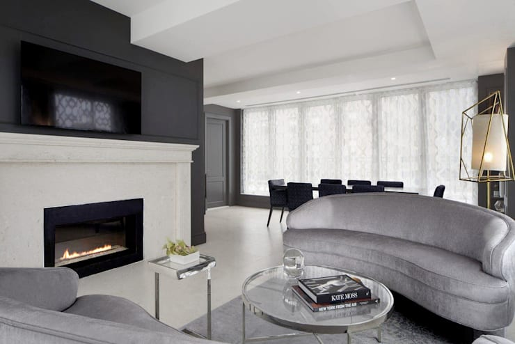 Living Room Penthouse:  Living room by Joe Ginsberg Design