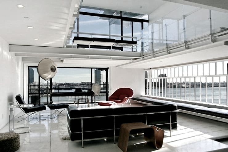 Living Room- Historic Preservation - Paul Rudolph Estate 现代客厅設計點子、靈感 & 圖片 根據 Joe Ginsberg Design 現代風