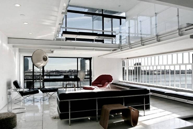 Living Room- Historic Preservation - Paul Rudolph Estate:  Living room by Joe Ginsberg Design