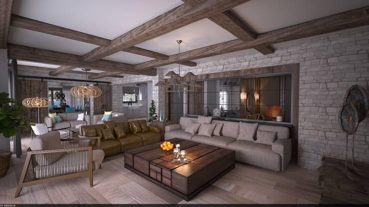 5K MİMARLIK – Bodrum / Yalıkavak villa projesi:  tarz Oturma Odası, Akdeniz Ahşap Ahşap rengi