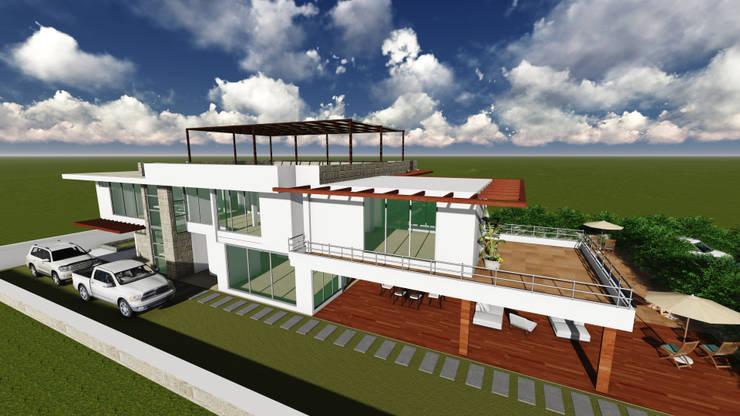 FACHADA LATERAL IZQUIERDA:  Houses by HERES CONSTRUCTORA