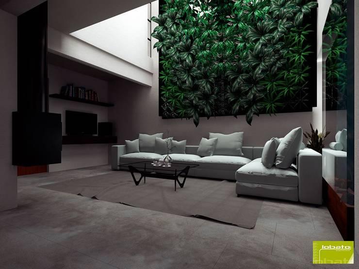 Sala Doble Altura y Chimenea:  de estilo  por Lobato Arquitectura