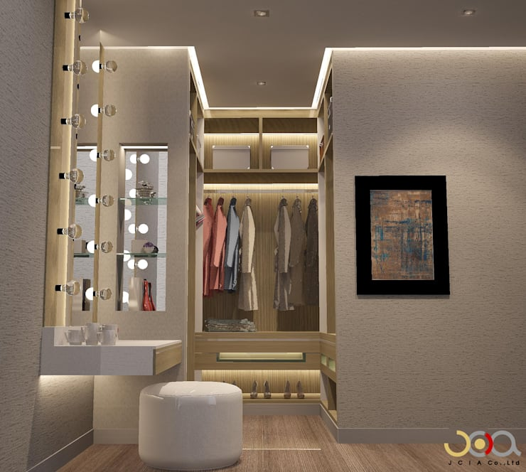 Walk in closet de estilo  por jcia co.,ltd