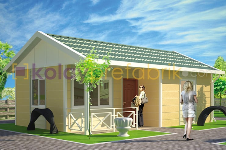 Kolay Prefabrik Evler – Tek Katlı Prefabrik Ev 40 m2 (1+1) Dış Cephe Betopan Taşonit Kaplama :  tarz Evler