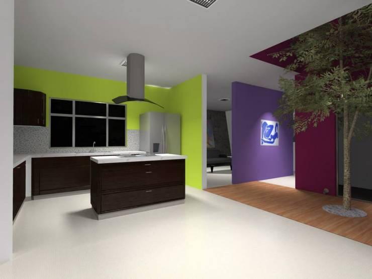 Casa Cubo Lara : Cocinas de estilo  por Lobato Arquitectura