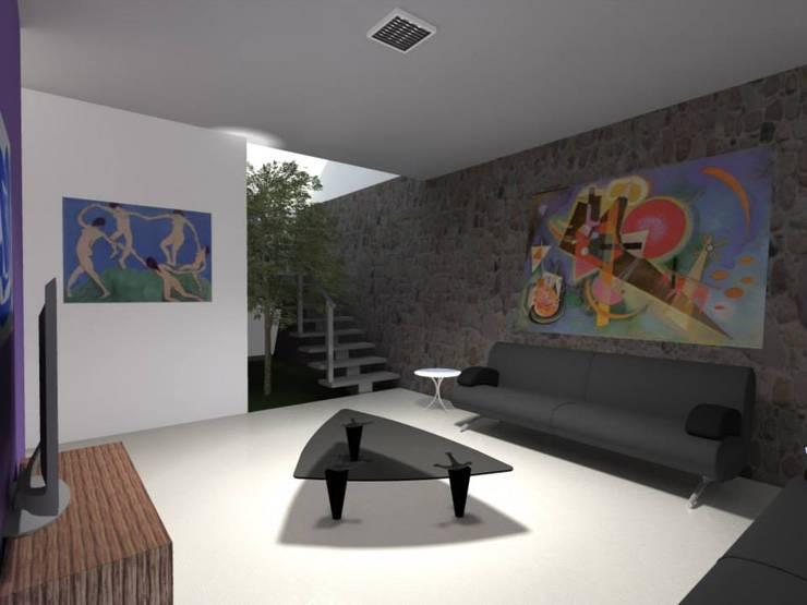 Casa Cubo Lara : Salas de estilo  por Lobato Arquitectura