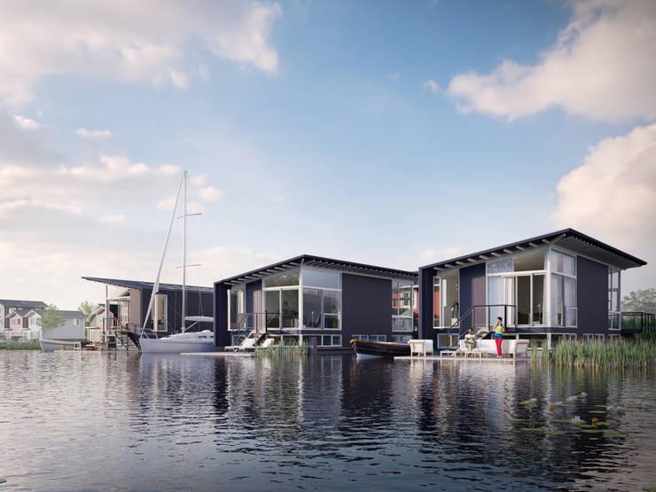 Drie watervilla's in Dorpshaven, Aalsmeer:  Huizen door agNOVA architecten, Scandinavisch
