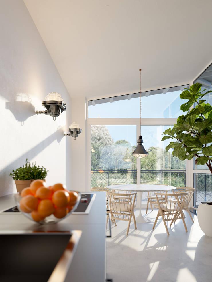Impressie interieur watervilla in Dorpshaven, Aalsmeer:  Eetkamer door agNOVA architecten, Scandinavisch