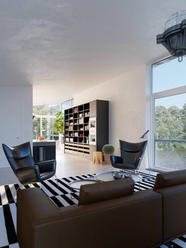 Impressie interieur watervilla:  Woonkamer door agNOVA architecten, Scandinavisch