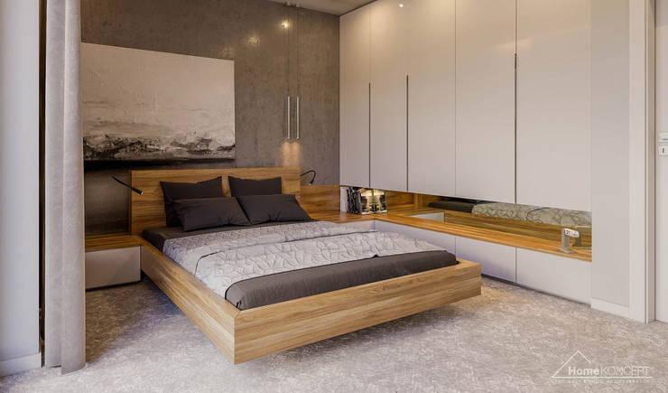 غرفة نوم تنفيذ HomeKONCEPT   Projekty Domów Nowoczesnych