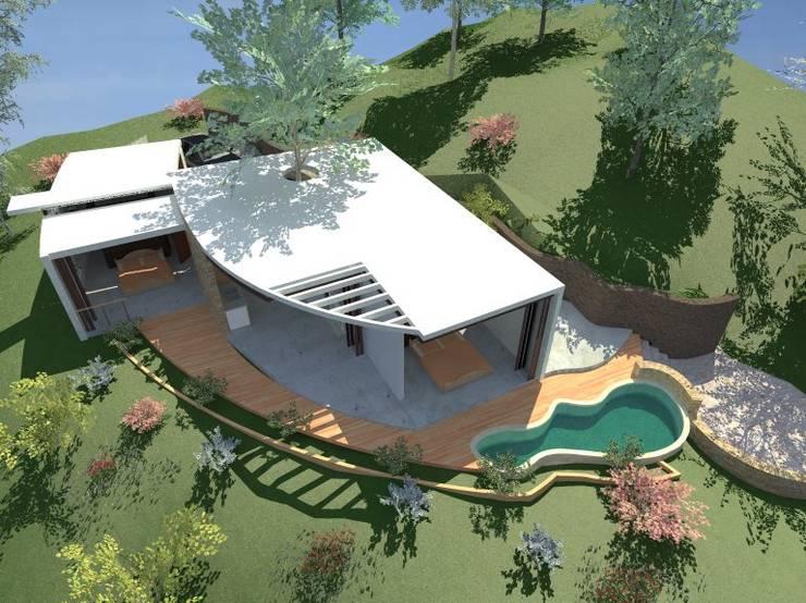 Villa Buda Zen Vista aérea :  de estilo  por Lobato Arquitectura