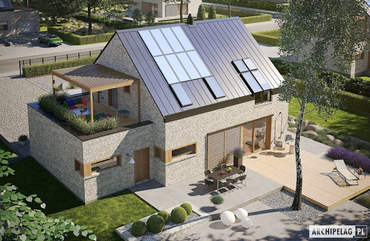 Katrina II G1 ENERGO PLUS - dom, który będzie dla Ciebie oszczędzał! : styl , w kategorii Domy zaprojektowany przez Pracownia Projektowa ARCHIPELAG