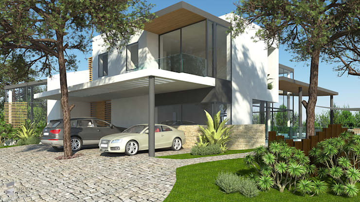 Moradia no Algarve:   por Essencia Architects,