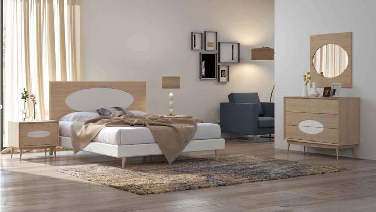 Mobiliário de quarto estilo nórdico Nordic style bedroom furniture www.intense-mobiliario.com  SUNEV : Quarto  por Intense mobiliário e interiores;,