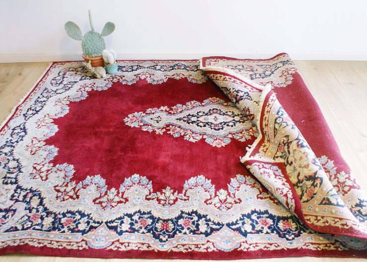 Groot handgeknoopt Perzisch tapijt, Kirman/Kerman. Oosters vintage kleed uit Iran. :   door Flat sheep, Aziatisch