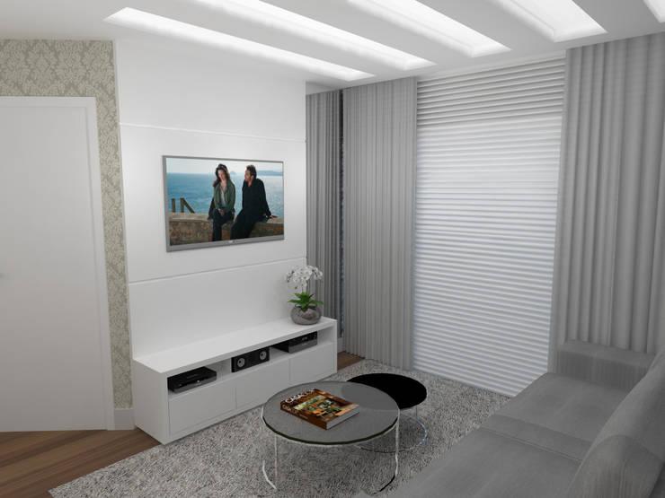 Sala Apartamento Alto da XV: Salas de estar  por Ana Johns Arquitetura,
