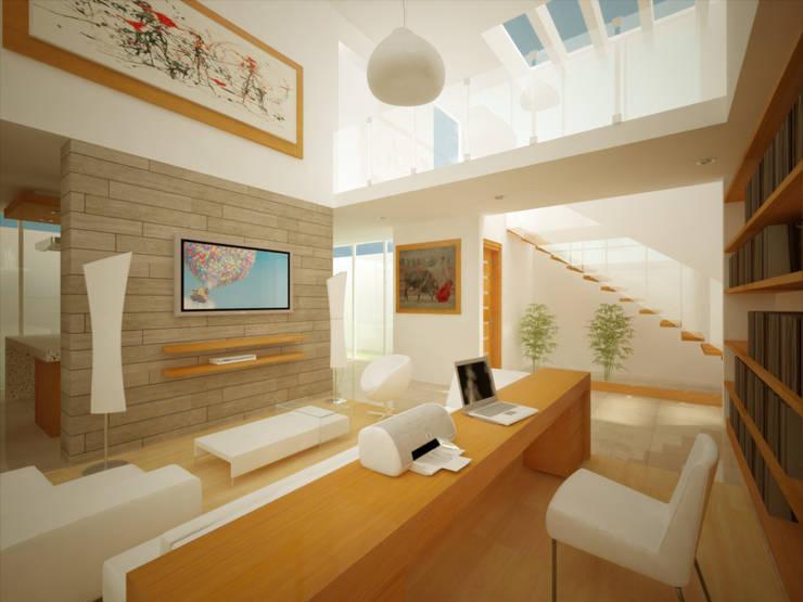 SALA/ESTUDIO DOBLE ALTURA: Salas multimedia de estilo  por DLR ARQUITECTURA/ DLR DISEÑO EN MADERA