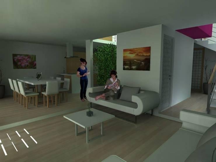 Sala  de Estar y Comedor : Salas de estilo  por Lobato Arquitectura