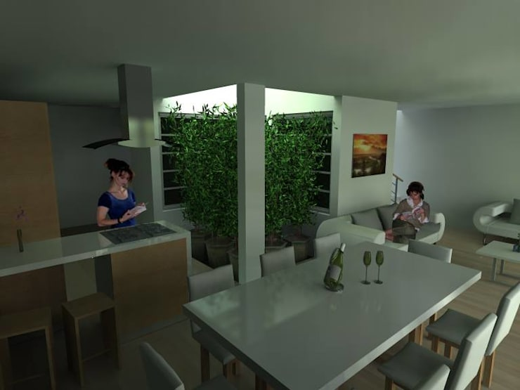 Casa Las Peñas 463: Salas de estilo  por Lobato Arquitectura