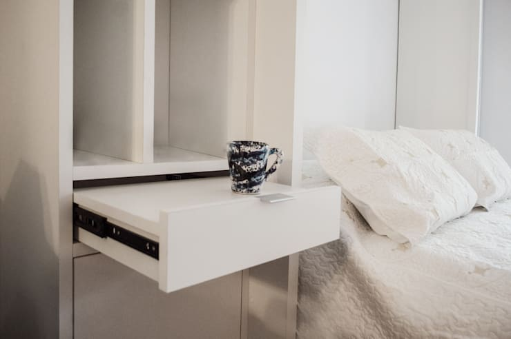 Mesa de Luz de MINBAI Minimalista Madera Acabado en madera
