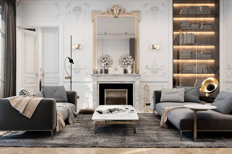 Exquisite flat in Paris: Гостиная в . Автор – Diff.Studio