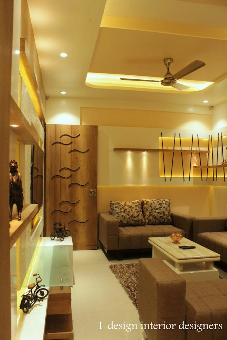 3bhk:  Living room by I - design interior designer's ,Modern Metal