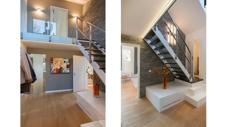 Bosvilla Rosmalen:  Gang en hal door Studio'OW Interieurontwerp, Modern