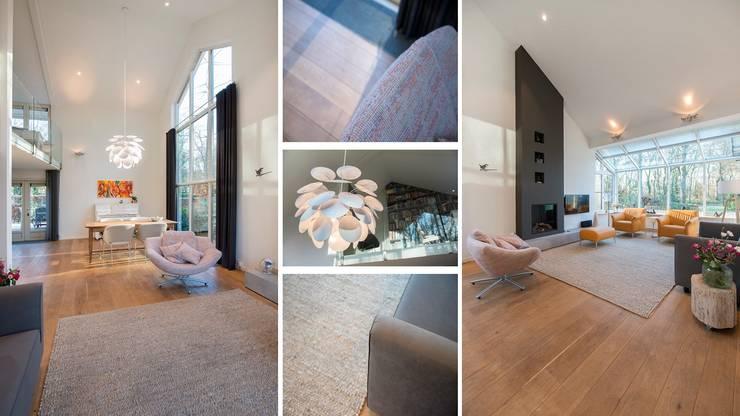 Bosvilla Rosmalen:  Woonkamer door Studio'OW Interieurontwerp, Modern