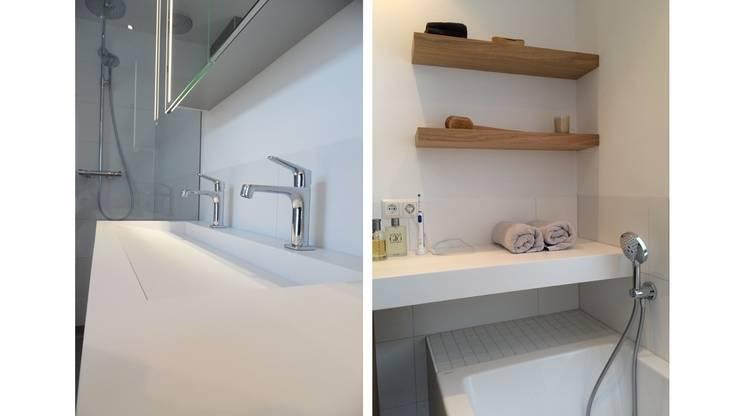 Badkamer karakteristiek jaren 30 woonhuis:  Badkamer door Studio'OW Interieurontwerp, Modern
