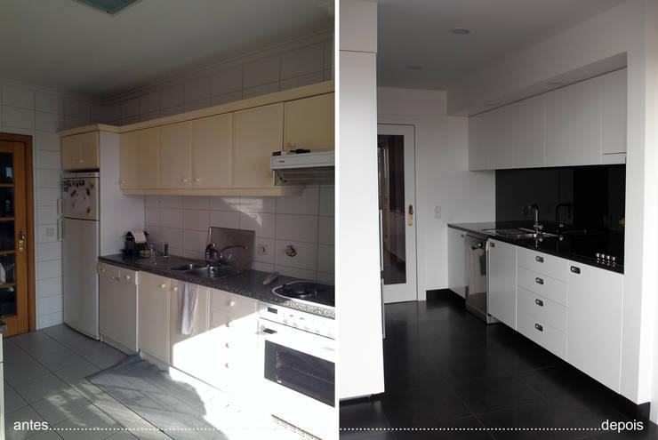 cozinha antes e depois_balcão principal:   por Emprofeira - empresa de projectos da Feira, Lda.,
