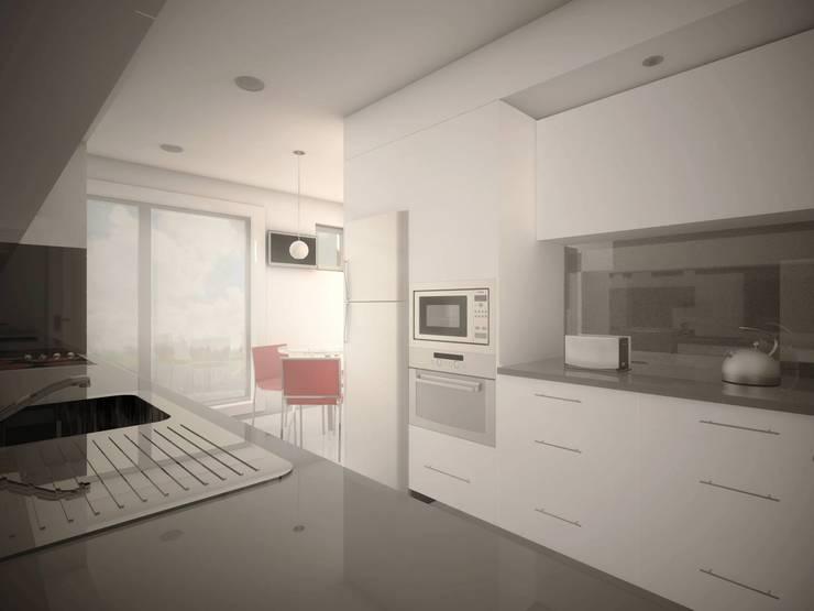 representação 3D da intervenção: Cozinhas  por Emprofeira - empresa de projectos da Feira, Lda.,