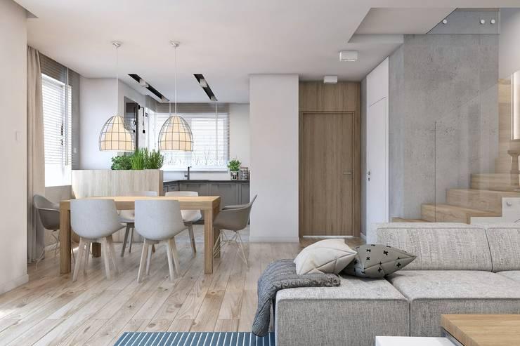 Projekt domu jednorodzinnego 10: styl , w kategorii Jadalnia zaprojektowany przez BAGUA Pracownia Architektury Wnętrz