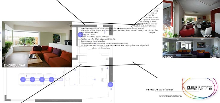 Salas de estar  por KleurInKleur interieur & architectuur , Moderno