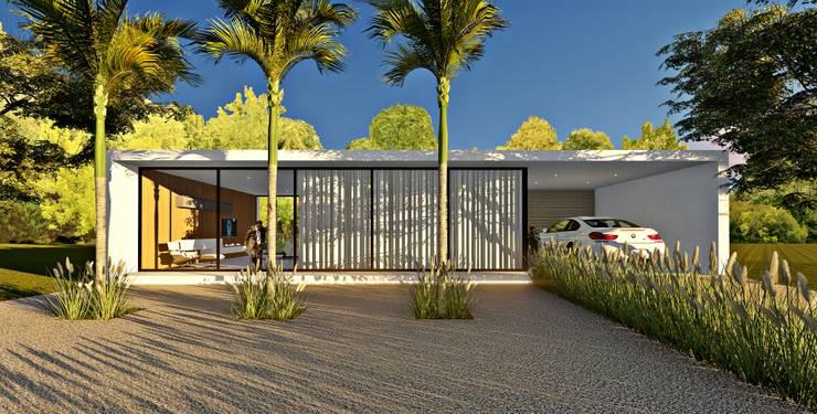 Casas de estilo minimalista de Lopes e Theisen Arquitetura Minimalista Concreto