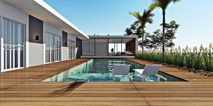 Piscinas de estilo minimalista de Lopes e Theisen Arquitetura Minimalista Concreto