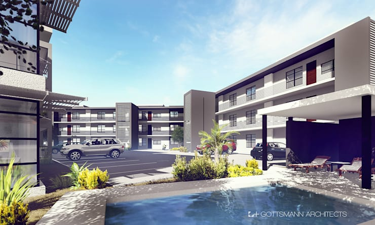 Apartments, Lusaka, Zambia:  Pool by Gottsmann Architects