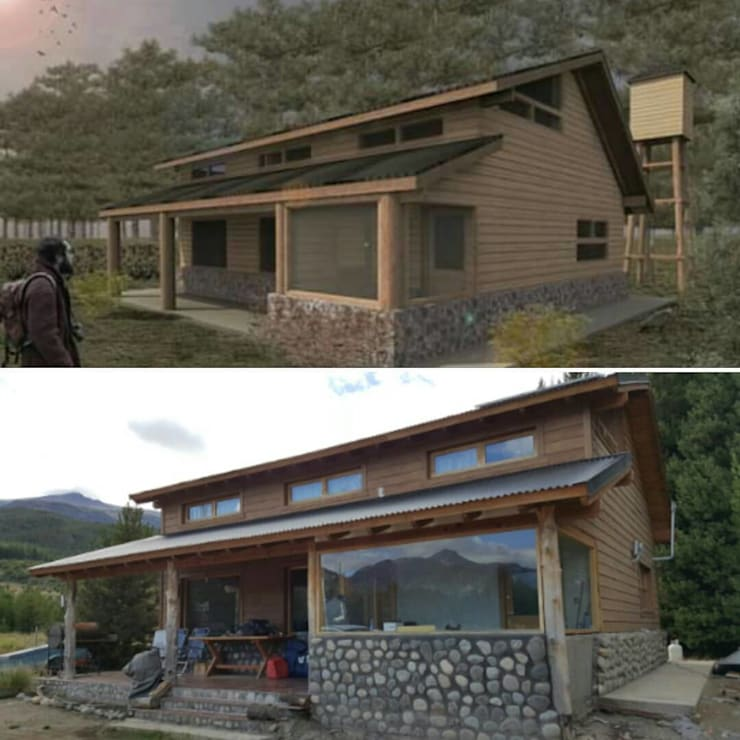 Proyecto vs Realidad: Casas de estilo  por ESTUDIO RR,Rústico